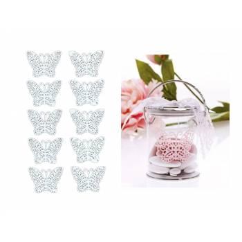 10 Schmetterlinge Aufkleber weiß