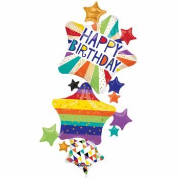 Riesige Luftballons happy birthday star color