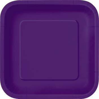 14 quadratische Teller dunkel violett