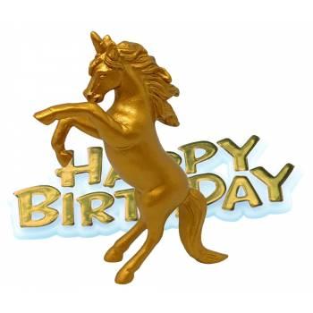 Tortenfiguren kit einhorn Happy Birthday gold