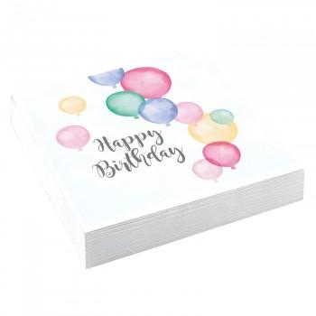 20 servietten Birthday Pastell