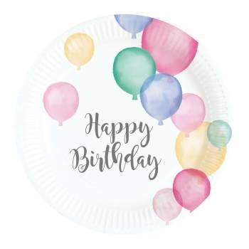 8 Dessert Teller Birthday Pastell