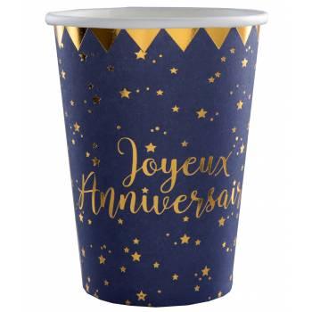10 Becher J A nachtblau gold