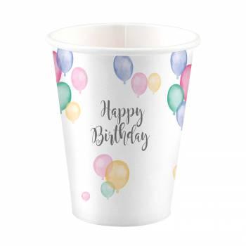 8 Becher Birthday Pastell