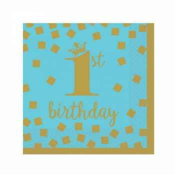 16 servietten Dessert 1 Jahr blue gold
