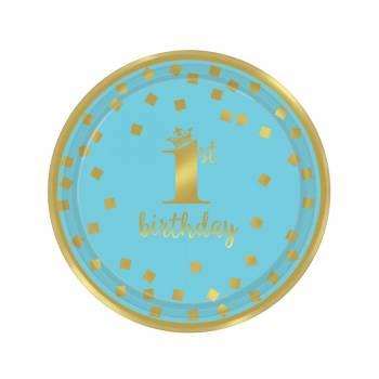 8 Dessert Teller 1 Jahr blue gold