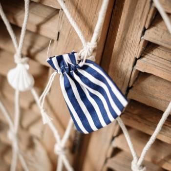 5 gestreifte, marine gestreifte Baumwolle und weiß