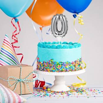 Cake topper Ballon Silber Ziffer 0
