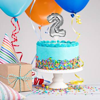 Cake topper Ballon Silber Ziffer 2