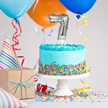 Cake topper Ballon Silber Ziffer 7