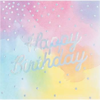 16 Servietten Happy Birthday Irisierte Pastell