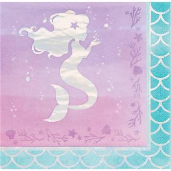 16 Servietten Meerjungfrau Hologramm