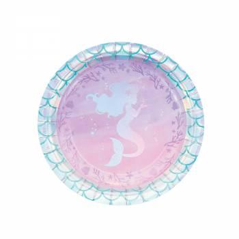 8 Dessert-Teller Meerjungfrau Hologramm