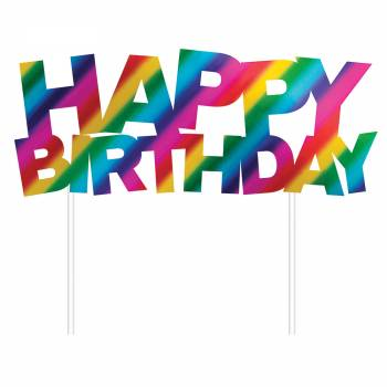 Cake topper Happy Birthday regenbogen foil