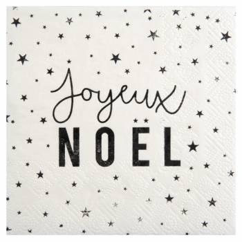 20 Servietten Frohe Weihnachten schwarz weiß