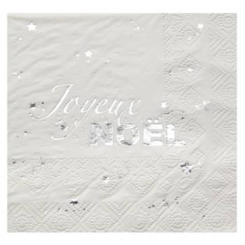 20 Handtücher Frohe Weihnachten weiß Silber