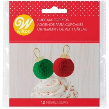 12 Deko-Spitzball-Weihnachtskugeln Wilton