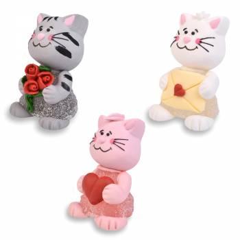 3 Liebes-Katzen in Zucker passend