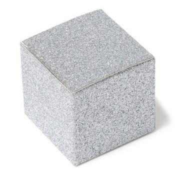 8 Mini Silber Schachteln Glitzer