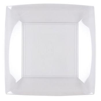 8 transparente quadratische Teller
