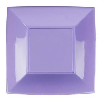 8 Lila quadratische Teller