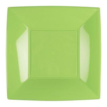 8 grüne Quadratische Teller anis