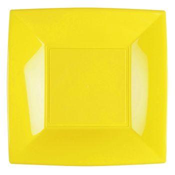 8 quadratische Teller gelb