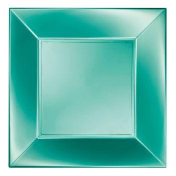 8 quadratische Teller perlgrün