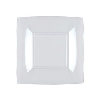 8 transparente quadratische Nachspeise Teller