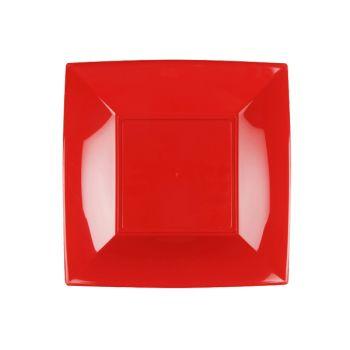 8 Quadratische Teller rot