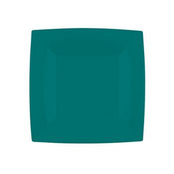 8 Dessert-Teller quadratische smaragdgrün
