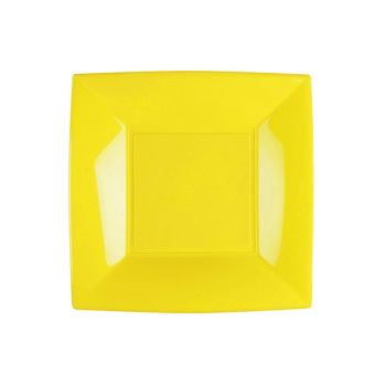 8 Quadratische Dessert-Teller gelb