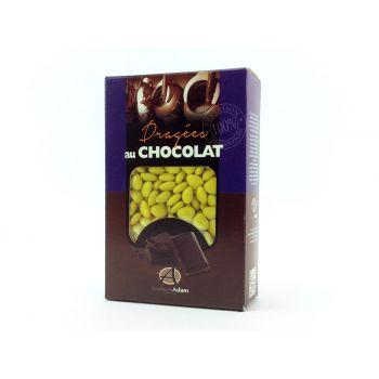Dragees mini Herz Schokolade glänzend Gelb Knopf gold 500gr
