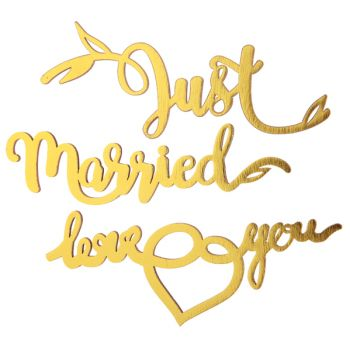 Just married metallisiert gold selbstklebend