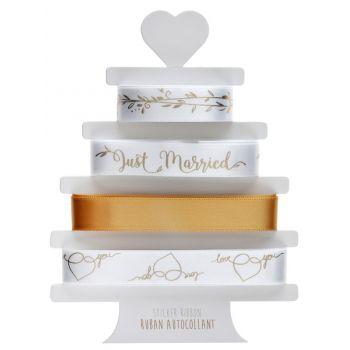 4 Bänder Just married metallisiert gold-aufkleber