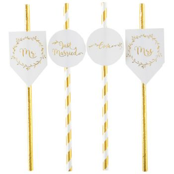 8 Pailles Just married metallic gold
