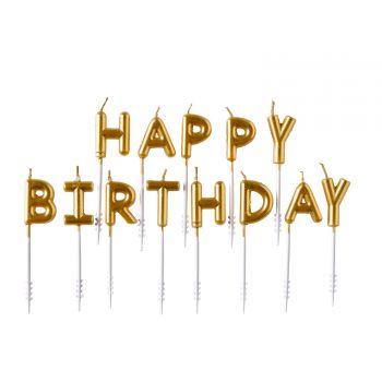 Happy Birthday Gold Kerzen Set für Kuchen
