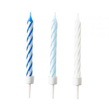 10 Geburtstagskerzen Streifen blau