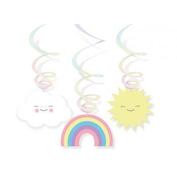 6 Girlanden swirl Wolke Regenbogen