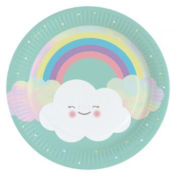 8 Teller Wolke Regenbogen