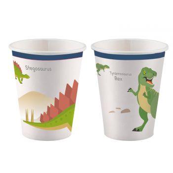 8 Becher Dinosaurier-Party