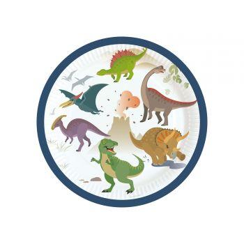 8 Dessert-Teller Dinosaurier Party
