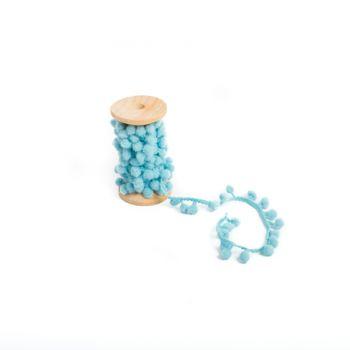 Blaues Pomponsband