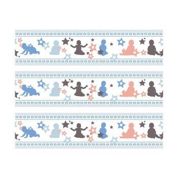 3 Bänder mit Süßigkeiten Baby-Dekor blau