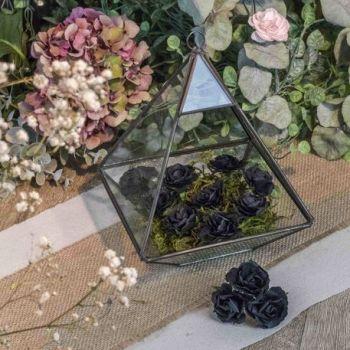 12 Schwarze Rosen auf 3.5cm Stange