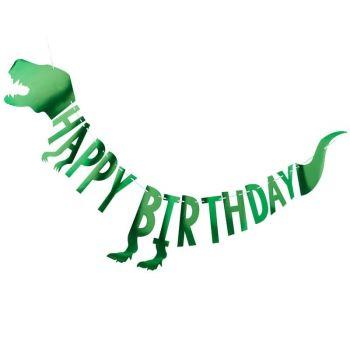 Alu-Girlande Happy birthday Dinosaurier