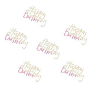 Konfetti Happy birthday irisiert pastellfarben