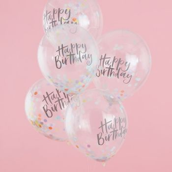 5 Ballons Konfetti Pastell party