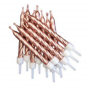 12 Metallic Kerze gold rosa
