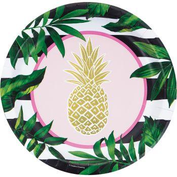 8 Teller gold ananas